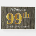 [ Thumbnail: Rustic, Faux Gold 99th Birthday Party; Custom Name Guest Book ]