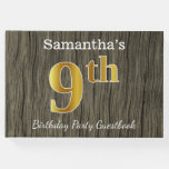 [ Thumbnail: Rustic, Faux Gold 9th Birthday Party + Custom Name Guest Book ]