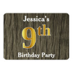 [ Thumbnail: Rustic, Faux Gold 9th Birthday Party; Custom Name Invitation ]