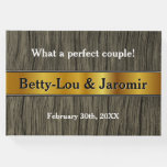 [ Thumbnail: Rustic Faux Gold Look Matrimony Guestbook ]