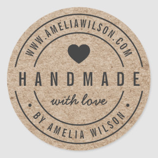Rustic Faux Kraft Bold Handmade With Love Heart Classic Round Sticker