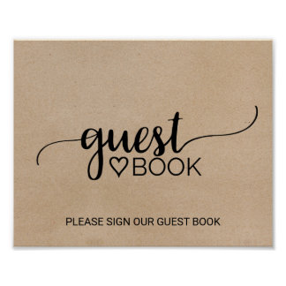 Rustic Faux Kraft Calligraphy Guest Book Sign