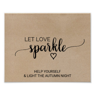Rustic Faux Kraft Calligraphy Let Love Sparkle Poster