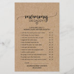 """Rustic Faux Kraft Calligraphy Mommy or Daddy Game<br><div class=""""desc"""">This rustic faux kraft calligraphy &quot;mommy or daddy&quot; game is perfect for a country baby shower. The front of the game card features &quot;mommy or daddy?&quot;, and the back of the card features &quot;baby word scramble&quot;. The minimal design features an lovely modern font and a heart on a faux kraft...</div>"""