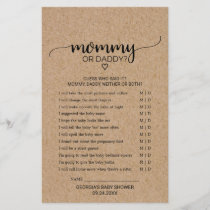 Rustic Faux Kraft Calligraphy Mommy or Daddy Game