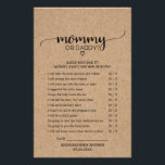 """Rustic Faux Kraft Calligraphy Mommy or Daddy Game Flyer<br><div class=""""desc"""">This rustic faux kraft calligraphy &quot;mommy or daddy&quot; game is perfect for a country baby shower. The front of the game card features &quot;mommy or daddy?&quot;, and the back of the card features &quot;baby word scramble&quot;. The minimal design features an lovely modern font and a heart on a faux kraft...</div>"""