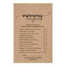 Rustic Faux Kraft Calligraphy Mommy or Daddy Game Flyer