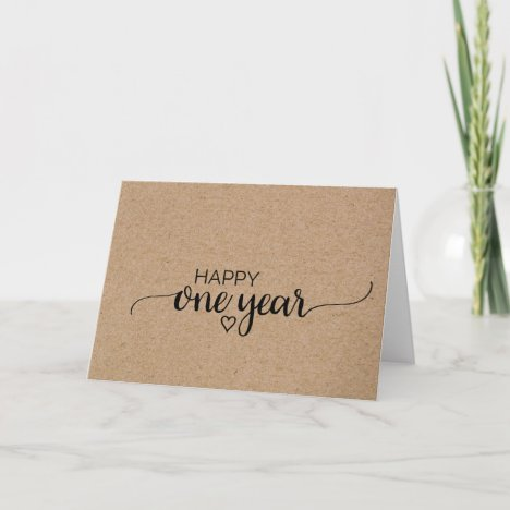 Rustic Faux Kraft Calligraphy One Year Anniversary Card