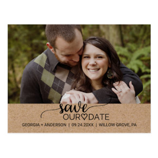 Rustic Faux Kraft Calligraphy Save Our Date Photo Postcard