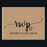 "Rustic Faux Kraft Calligraphy Song Request RSVP Postcard<br><div class=""desc"">This rustic faux kraft calligraphy song request RSVP postcard is perfect for a rustic or modern theme wedding. The minimalist design features an elegant brush script font and a lovely feminine heart. Build your wedding guest list and your dance floor song list all at once! This wedding response postcard conveniently...</div>"