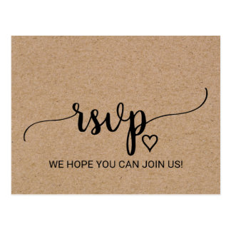 Rustic Faux Kraft Calligraphy Song Request RSVP Postcard