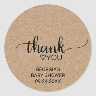 Rustic Faux Kraft Calligraphy Thank You Favor Classic Round Sticker
