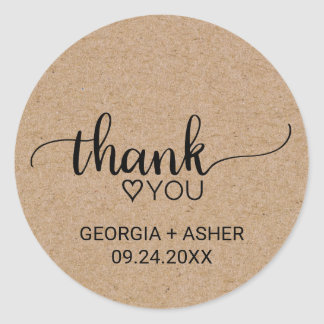 Rustic Faux Kraft Calligraphy Thank You Wedding Classic Round Sticker