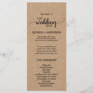 Rustic Faux Kraft Calligraphy Wedding Program