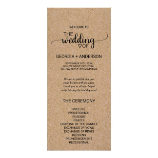 Rustic Faux Kraft Calligraphy Wedding Program
