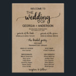 "Rustic Faux Kraft Calligraphy Wedding Program Poster<br><div class=""desc"">This rustic faux kraft calligraphy wedding program poster is perfect for a rustic wedding. The minimalist design features an elegant brush script font and a lovely feminine heart. Include the name of the bride and groom,  the wedding date and location,  names of the parents and the bridal party.</div>"