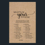"""Rustic Faux Kraft Calligraphy What&#39;s In Your Phone Flyer<br><div class=""""desc"""">This rustic faux kraft calligraphy &quot;what&#39;s in your phone&quot; game is perfect for a country baby shower. The front of the game card features &quot;guess the right price&quot;, and the back of the card features &quot;what&#39;s in your phone&quot;. The minimal design features an lovely modern font and a heart on...</div>"""