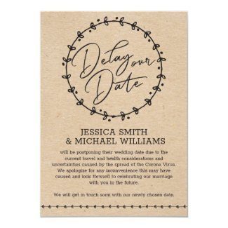 Rustic Faux Kraft Corona Virus Delay the Date Card