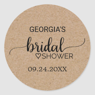 Rustic Faux Kraft Modern Calligraphy Bridal Shower Classic Round Sticker