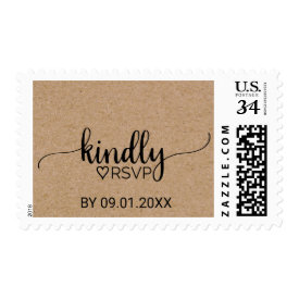 Rustic Faux Kraft Modern Calligraphy RSVP Wedding Postage