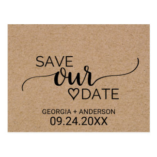 Rustic Faux Kraft Modern Calligraphy Save Our Date Postcard