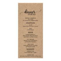 Rustic Faux Kraft Paper Calligraphy Wedding Menu