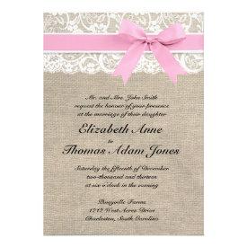 Rustic Faux Lace Burlap Wedding Invitation Pink