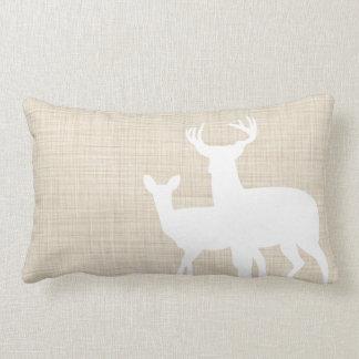 Rustic Faux Linen Male Female Deer Throw Pillow