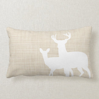 Rustic Faux Linen Male Female Deer Throw Pillow