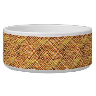 Rustic Faux Weave on Wood Dog Bowls