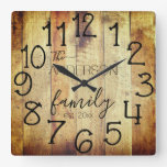 Rustic Faux Wood Barn Farmhouse Custom Family Name Square Wall Clock