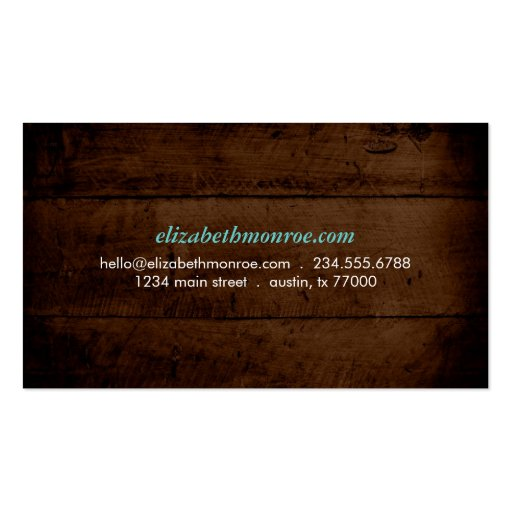 Rustic Faux Wood Business Card (back side)