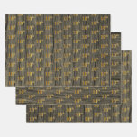 "[ Thumbnail: Rustic Faux Wood Grain, Elegant Faux Gold ""10th"" Wrapping Paper Sheets ]"