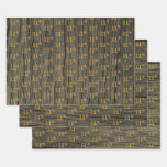"[ Thumbnail: Rustic Faux Wood Grain, Elegant Faux Gold ""11th"" Wrapping Paper Sheets ]"