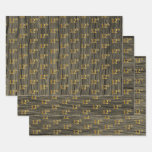 "[ Thumbnail: Rustic Faux Wood Grain, Elegant Faux Gold ""12th"" Wrapping Paper Sheets ]"