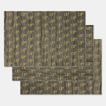 "[ Thumbnail: Rustic Faux Wood Grain, Elegant Faux Gold ""13th"" Wrapping Paper Sheets ]"
