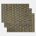 "[ Thumbnail: Rustic Faux Wood Grain, Elegant Faux Gold ""14th"" Wrapping Paper Sheets ]"