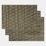 "[ Thumbnail: Rustic Faux Wood Grain, Elegant Faux Gold ""15th"" Wrapping Paper Sheets ]"