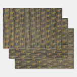 "[ Thumbnail: Rustic Faux Wood Grain, Elegant Faux Gold ""16th"" Wrapping Paper Sheets ]"
