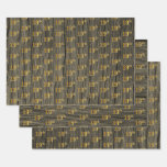 "[ Thumbnail: Rustic Faux Wood Grain, Elegant Faux Gold ""19th"" Wrapping Paper Sheets ]"