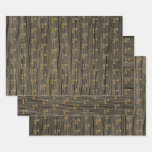 "[ Thumbnail: Rustic Faux Wood Grain, Elegant Faux Gold ""1st"" Wrapping Paper Sheets ]"