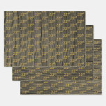"[ Thumbnail: Rustic Faux Wood Grain, Elegant Faux Gold ""22nd"" Wrapping Paper Sheets ]"