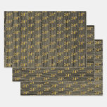 "[ Thumbnail: Rustic Faux Wood Grain, Elegant Faux Gold ""24th"" Wrapping Paper Sheets ]"