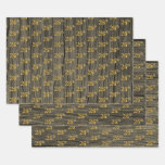 "[ Thumbnail: Rustic Faux Wood Grain, Elegant Faux Gold ""26th"" Wrapping Paper Sheets ]"