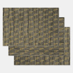 "[ Thumbnail: Rustic Faux Wood Grain, Elegant Faux Gold ""27th"" Wrapping Paper Sheets ]"