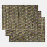 "[ Thumbnail: Rustic Faux Wood Grain, Elegant Faux Gold ""29th"" Wrapping Paper Sheets ]"