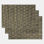"[ Thumbnail: Rustic Faux Wood Grain, Elegant Faux Gold ""2nd"" Wrapping Paper Sheets ]"