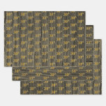 "[ Thumbnail: Rustic Faux Wood Grain, Elegant Faux Gold ""30th"" Wrapping Paper Sheets ]"