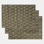 "[ Thumbnail: Rustic Faux Wood Grain, Elegant Faux Gold ""33rd"" Wrapping Paper Sheets ]"