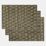 "[ Thumbnail: Rustic Faux Wood Grain, Elegant Faux Gold ""34th"" Wrapping Paper Sheets ]"